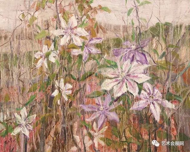《山野的铁线莲》  80×100cm  布面油画