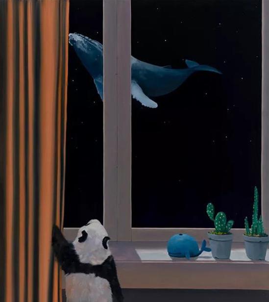 许京甫《窗外》布面油画