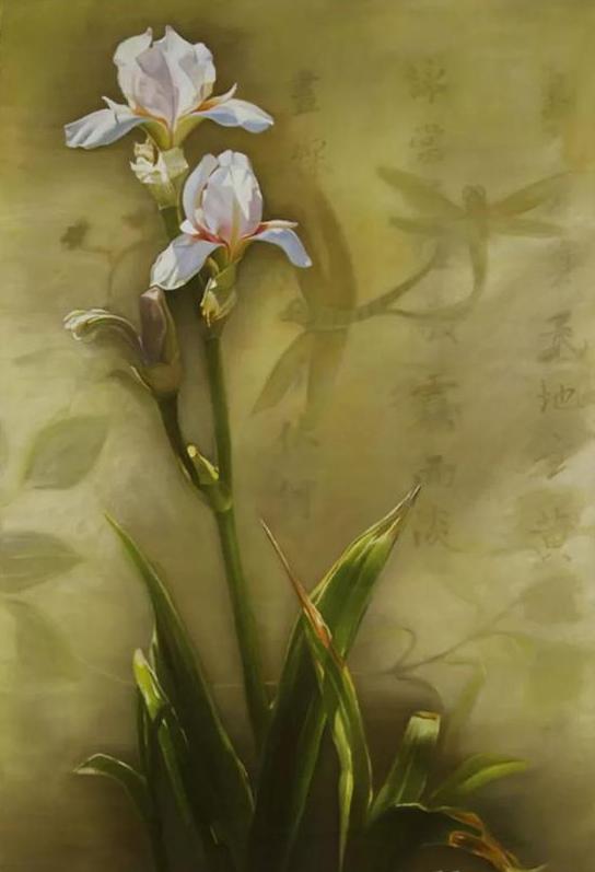 王海婴《鸢尾花7》 布面油画