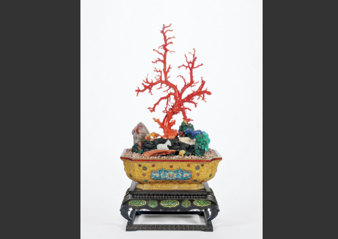 民国 铜鎏金掐丝珐琅缠枝莲纹盆嵌珊瑚百宝盆景
