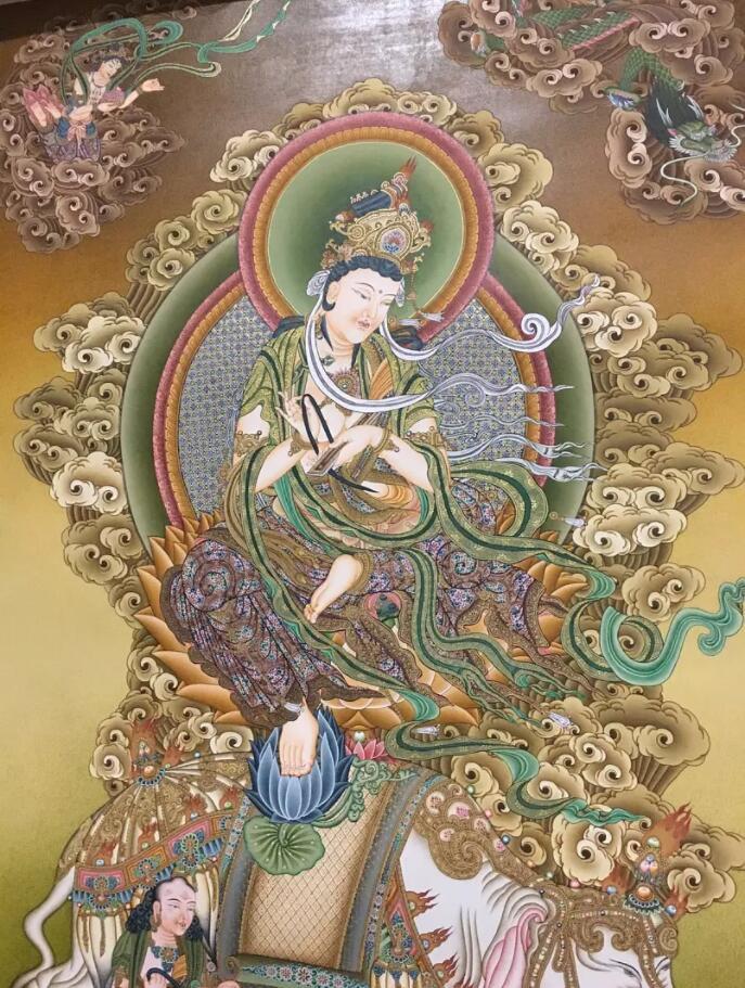 普贤菩萨––––独特的唐密风格,背景是点触笔法